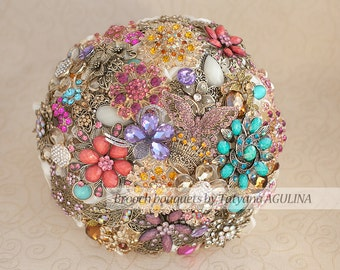 Brooch bouquet. Multi-coloured wedding brooch bouquet