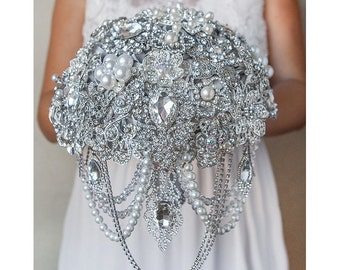 Pearl Crystal Full jeweled silver brooch bouquet Wedding glamour Gatsby bridesmaids bling cascading bouquet