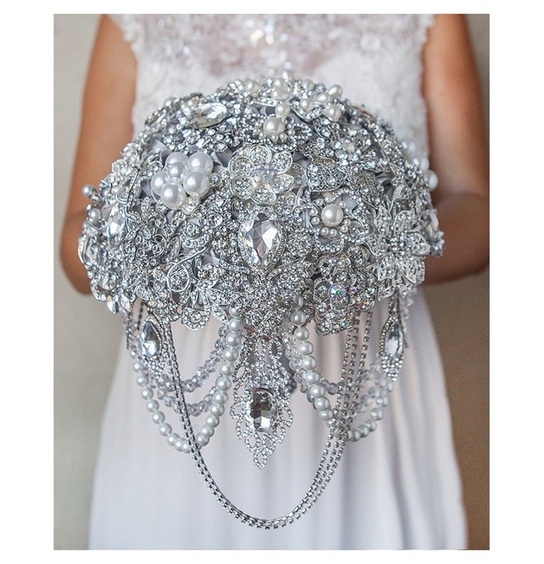 Crystal Bridal Brooch Bouquet Full Jeweled Silver Wedding image 0
