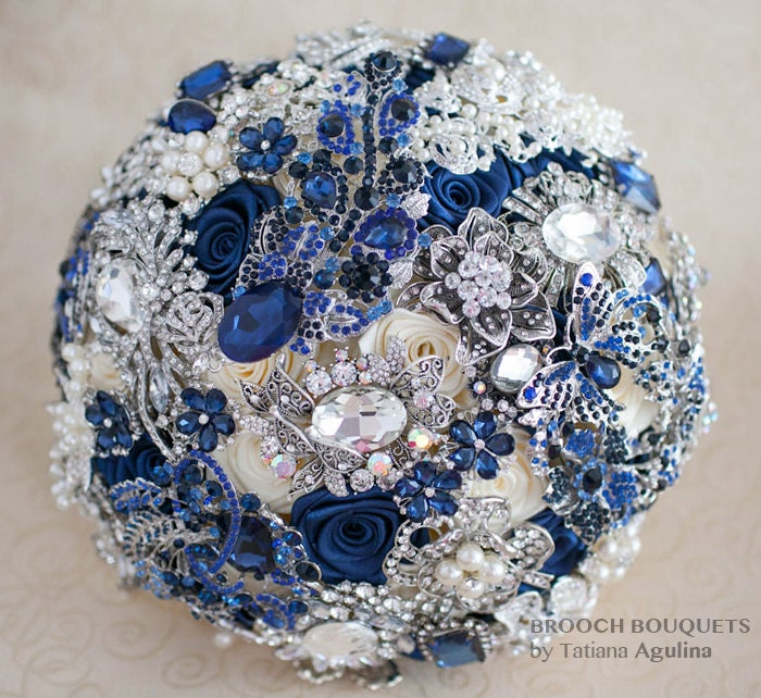 Navy Blue And Silver Wedding Ideas: Brooch Bouquet. Navy Blue And Silver Wedding Brooch