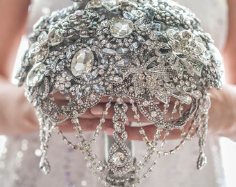 Crystal full jeweled silver pearls brooch bouquet wedding glamour Gatsby rhinestone bling cascade bridal bouquet