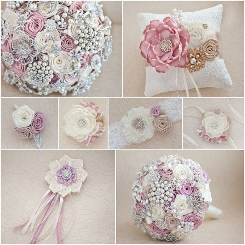 Made upon request Jeweled Bouquet Brooch bouquet Lilac and silver wedding brooch bouquet White