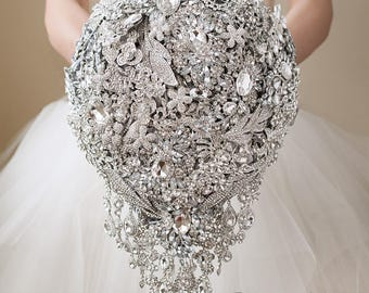 Wedding Brooch Bouquet Wedding Bouquet, Bridal Bouquet Silver Bouquet Cascading Bouquet Jewelry Bouquet, Broach Bouquet Bridesmaids Bouquet