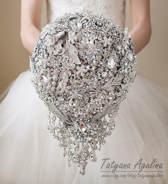 Hochzeit Brosche Bouquet Brautstrauß Brautstrauß Silber