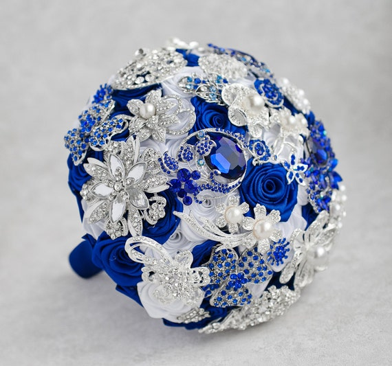 Brooch Bouquet White Royal Blue And Silver Brooch Bouquet Etsy