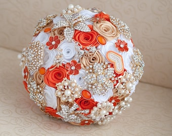 Brooch bouquet.  White, Orange and Gold wedding  brooch bouquet