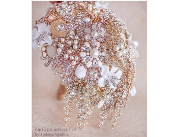 Cascading Bouquet Rose Gold Brooch bouquet Wedding Bouquet Jewelry Bouquet teardrop Bouquet broach bouquet Bridal Bouquet Rose Gold Bouquet