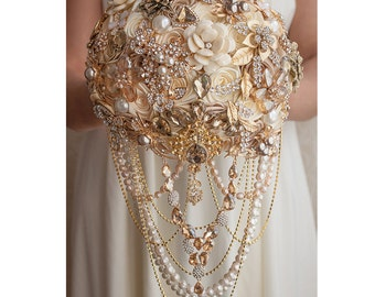 Brooch Bouquet Wedding Bouquet Champagne Bouquet Bridal Bouquet Gold Bouquet Ivory Bouquet Cream Bouquet Vintage Bouquet Bridesmaids Bouquet