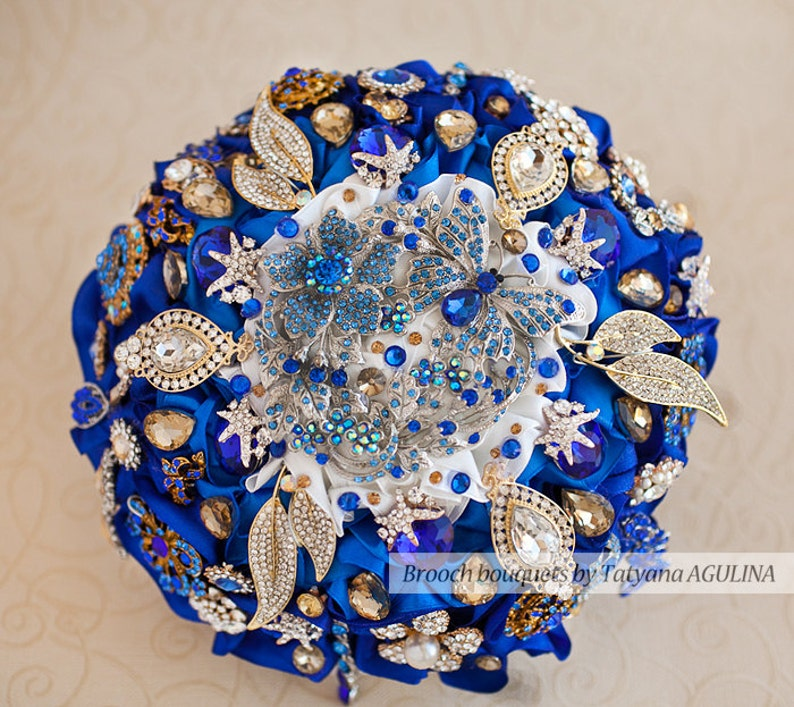 Brooch Bouquet Royal Blue And Gold Crystal Wedding Brooch Etsy