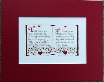 """PRINCESS BRIDE Art Print: """"As You Wish - I Love You"""" -  Perfect for Valentine's Day, Wedding, Anniversary"""
