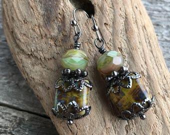 Olive Green Czech Glass Earrings, Short Earrings, Art Nouveau Earrings, Jewelry Under 20