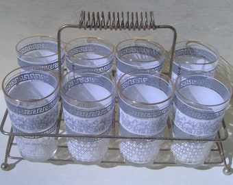 Jeannette Glass - Blue and White with Gold Rims - Patrician Pattern Glass Tumblers - Set of 8 and Brass Carrier