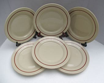 Warwick China - Santone Luncheon Plates - Set of 4  Brown Band on Tan Restaurant Diner Ware (3 sets available)