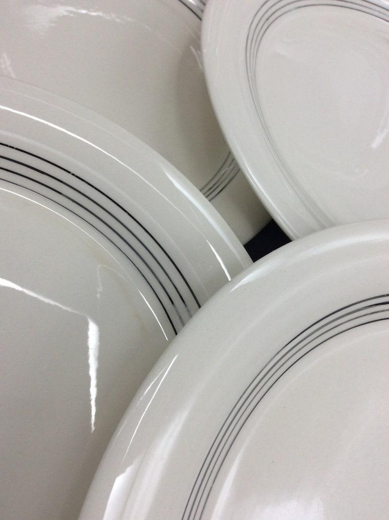 Homer Laughlin China Set of 6 Dinner Plates Shipping Included Chanson Pattern 4 Platinum Rings Eggshell Swing Shape 1940s