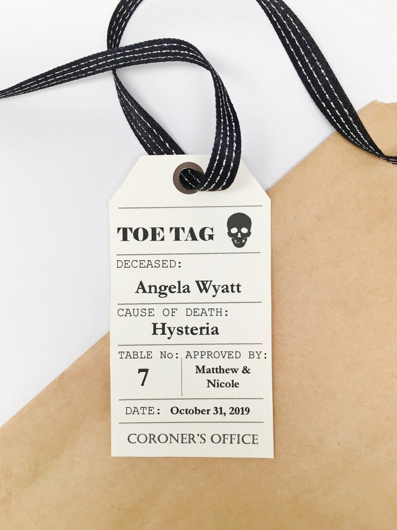 111 Halloween Wedding Toe Tag Place Cards INSTANT DOWNLOAD Seating Cards Digital Printable Escort Cards