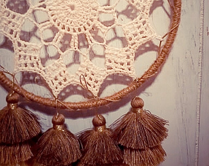 Featured listing image: Gypsy Crochet Doily Dream Catcher With Tassels