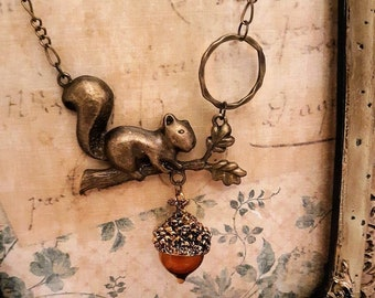 Antique Bronze Squirrel & Glass Acorn Pullover Necklace