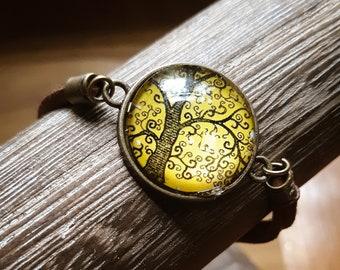Tree of Life Bracelet, Brown Suede Leather Bracelet, Glass Cabochon Leather Bracelet, Feminine Boho Jewelry, Life Tree Adjustable Jewellery