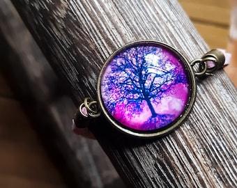 Tree of Life Bracelet, Pink Suede Leather Bracelet, Glass Cabochon Leather Bracelet, Feminine Boho Jewelry, Life Tree Adjustable Jewellery