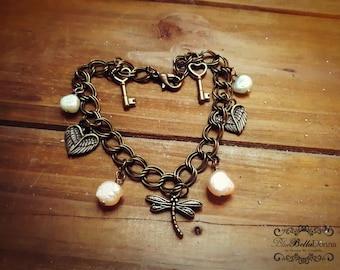 Antique Bronze, Double Twisted Curb Chain Charm Bracelet