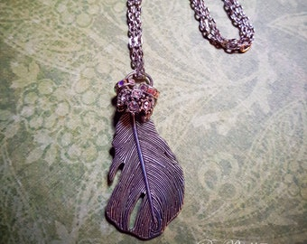 Boho Silver Toned Feather Necklace