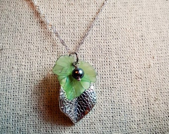 Green & Silver Leaves, Fairy Jewelry