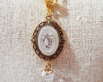 Bluish Gray Rose Cameo Necklace