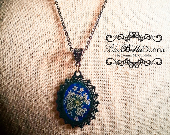 Featured listing image: Lace Flower Resin Pendant Necklace