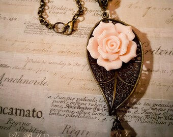 Antique Bronze Leaf and Pale Pink Rose Necklace