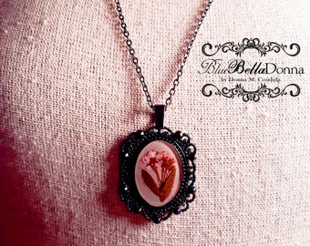 {Pink} Resin Flower Pendant - Victorian Necklace