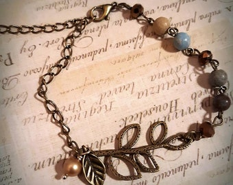 Antique Bronze and Beaded Chain Bracelet, Pearl Charm, Bronze Leaf Bracelet, Adjustable, Boho Jewelry, Nature Inspired, Earthy, Anklet