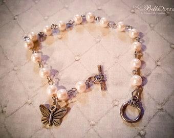 Pale Pink Pearl & Butterfly Charm Bracelet