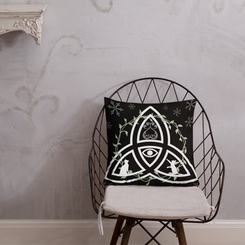 Celtic Knot Throw Pillow Premium Pillow Evil Eye Cats image 0