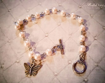 Pale Pink Pearl Bracelet, Butterfly Charm, Faux Pink Pearl Bracelet, Toggle Clasp Bracelet, Silver Tone, Rosary Chain