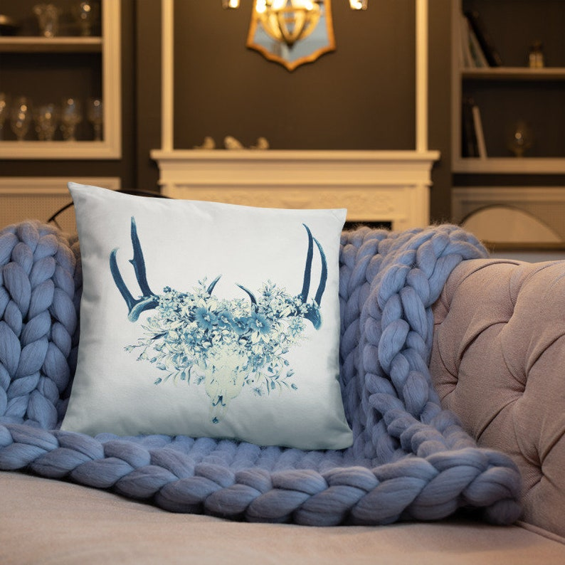 Floral Deer Skull Pillows Flower Skull Boho Deer Skull Blue image 0