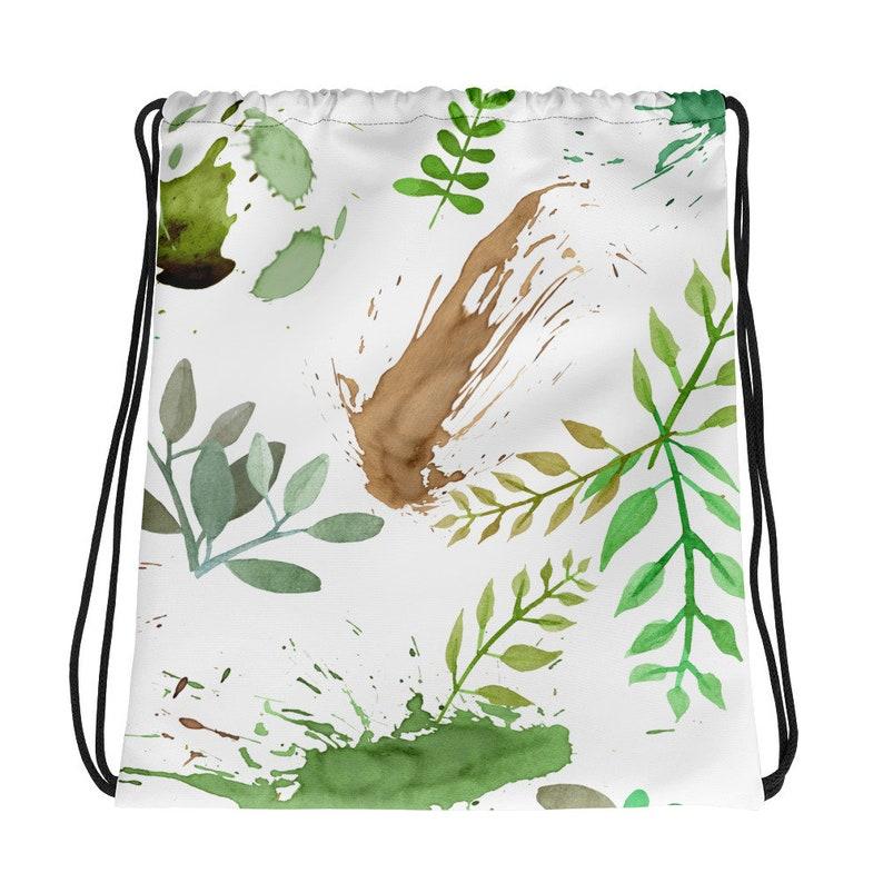 Green Leaves Paint Splatter Pattern Drawstring Bag image 0