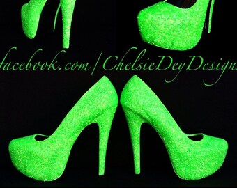 506bb964ae66 Glow High Heels - Neon Lime Green Glitter Shoes - Rave EDM EDC Festival  Pumps - Glow in the Dark Sparkly Heels