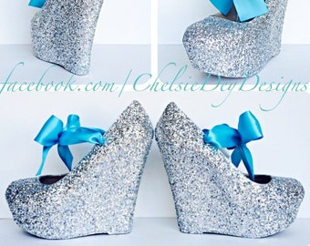 34961aed7ee4 Glitter Wedge Heels - Silver Platform Shoes - Turquoise Teal Blue Satin  Bows - Sparkly Wedding Shoes - Glitzy Prom Pumps