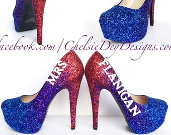 f453cf1c5f Blue Glitter High Heels - Red Purple Eggplant Ombre Pumps - Sparkly Mrs.  Wedding Shoes - New Last Name