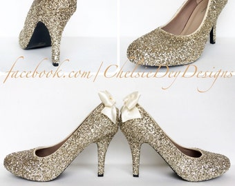 5c71f125350 Champagne Glitter High Heels - Gold Wedding Shoes - Low Wedding Heels -  Ivory Satin Bows