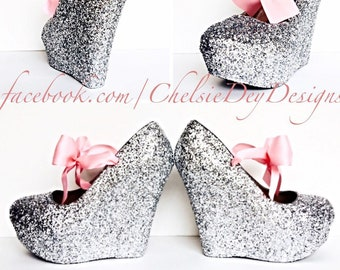 e9ed2497bd84 Glitter Wedge High Heels - Silver Pump Platform Shoes - Light Pink Satin  Bows - Wedding Shoes - Prom High Heels