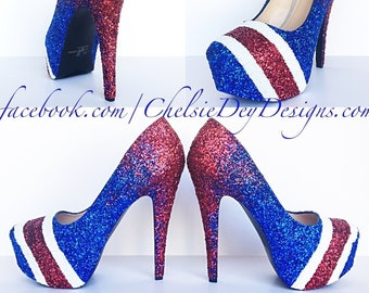 cbc9c26a882 American Flag High Heels - Glitter Red White and Blue Miss America Heels -  Striped Football Pumps - Military Wedding Shoes - Prom High Heel