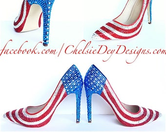 927d211bc13 American Flag High Heels - Rhinestone Red White Blue Miss America Heels - Stars  and Stripes Pumps - Military Wedding Shoes - Prom High Heel