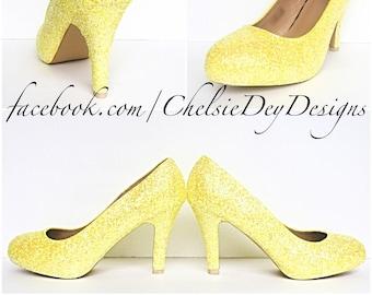 c926b0cec Yellow High Heels - Lemon Glitter Pumps - Little Miss Sunshine Shoes - Yellow  Wedding Heels