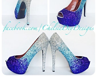 36cbd1d4ca Glitter High Heels - Purple Ombre Pumps - Silver Light Blue Eggplant Peep  Toe - Open Toe Fade Shoe - Wedding High Heels