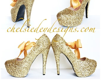cbc12800b8bcb7 Gold Glitter High Heels - Sparkly Champagne Wedding Shoes - Platform Prom  Pumps - Satin Bows