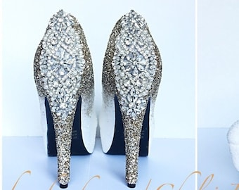202e8cd3e07 Champagne Glitter High Heels - White Irridescent Ombre Pumps - Crystal Wedding  Heels - Glitter Prom Shoes