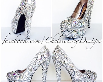 36d3941b1 Crystal Rhinestone High Heels - Silver White Irridescent Pumps - Glitzy  Prom Pumps - Sparkly Wedding Shoes - Geometric Diamond Heels