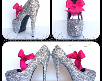 e7311b52d897 Glitter High Heels - Silver Grey Gray Pumps - Sparkly Wedding Shoes -  Platform Prom Pumps - Hot Pink Satin Bows
