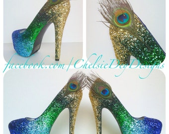 Peacock Glitter High Heels - Gold Green Royal Blue Light Blue Ombre Pumps -  Peacock Feather Wedding Shoes - Platform Prom Pumps c915170a48b0